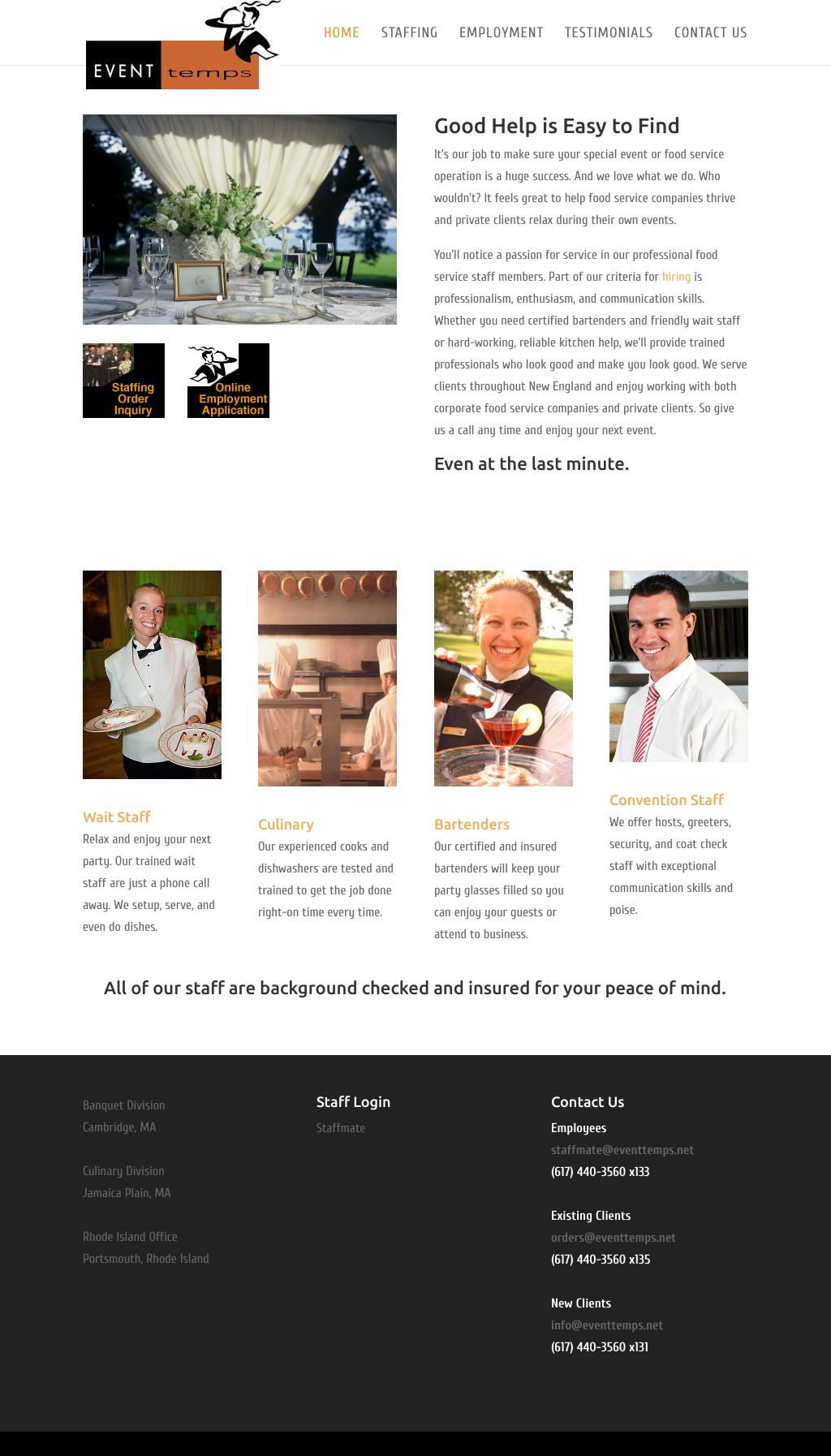 Event Temps Website | Scribendi Digital